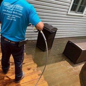 power wash cleaning deck